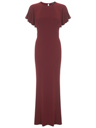 Miss Selfridge Cape Maxi Dress Burgundy