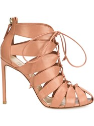 Francesco Russo Cut Out Lace Up Booties Pink And Purple