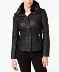 Inc International Concepts I.N.C. Faux Fur Collar Faux Leather Quilted Jacket Black