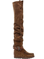 El Vaquero 70Mm Altea Suede Over The Knee Boots Tan