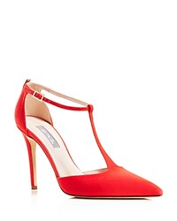 Sjp By Sarah Jessica Parker Taylor Pointed Toe T Strap Pumps Red