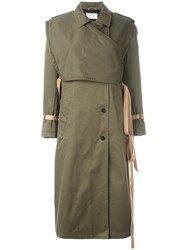 Ports 1961 Wrap Detail Trench Coat Green