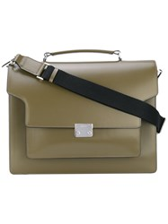 Marni Trunk Briefcase Satchel Men Calf Leather One Size Green