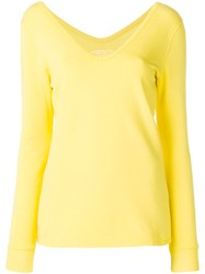 Majestic Filatures Wide V Neck Top Yellow And Orange