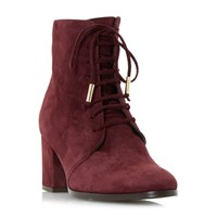 Dune Olita Lace Up Block Heel Ankle Boots Burgundy