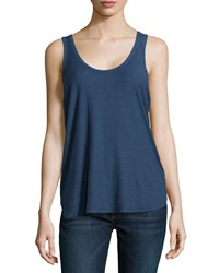 James Perse Slub Knit Baseball Tank Top Neptune
