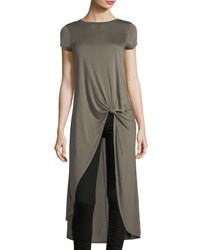 Neiman Marcus Front Knot Short Sleeve Tunic Olive