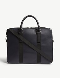 Sandro Pebbled Leather Briefcase Marine