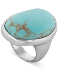 Lucky Brand Silver Tone Large Stone Drama Ring