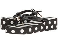 Kate Spade Rhett Black Shiny Rubber White Stripe