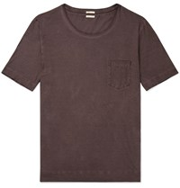Massimo Alba Panarea Watercolour Dyed Cotton Jersey T Shirt Brown