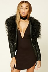 Forever 21 Faux Fur Trimmed Jacket Black