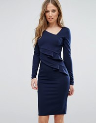 City Goddess Long Sleeve Pencil Dress With Ruched Side Navy