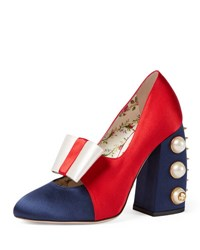 Gucci Luna Colorblock Bow 110Mm Pump Blue Red Ivory Multi