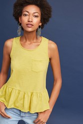 Anthropologie Peplum Pocket Tank Yellow