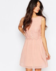 Club L Skater Dress With Eyelash Lace Overlay Pink