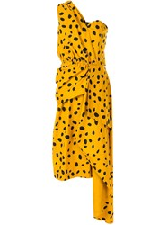 Romance Was Born Cheetah Minx Draped Dress Yellow