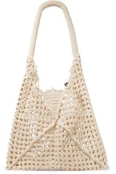 Nannacay Luna Leather Trimmed Crocheted Cotton Shoulder Bag Cream