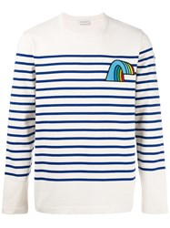 Moncler Striped Long Sleeve Top Nude Neutrals