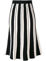 Roberto Collina Striped Skirt Women Polyester Viscose One Size Black