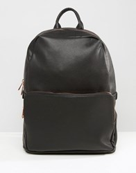 Asos Backpack In Black Faux Leather With Rose Gold Zip Black