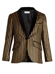 Sonia Rykiel Velvet Lapel Lame Striped Cotton Blend Jacket Black Gold