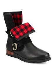 Sorel Major Leather And Suede Moto Boots Black