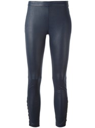 Balmain Pierre Skinny Leather Pants Blue