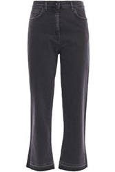 Mcq By Alexander Mcqueen Woman Cropped Frayed High Rise Flared Jeans Charcoal