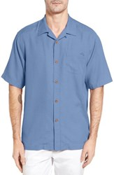 Tommy Bahama Men's Big And Tall Royal Bermuda Silk Blend Camp Shirt Blue Parrot