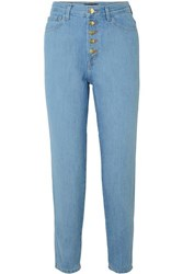 J Brand Heather Cropped High Rise Straight Leg Jeans Blue