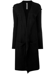 Rick Owens Draped Open Front Cardigan Coat Black