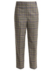 Tibi Lucas Checked Woven Trousers Grey Multi