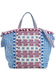 Dodo Bar Or Cotton Jacuqard And Lace Tote Bag Blue Multi