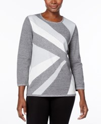 Alfred Dunner Silver Bells Colorblock Intarsia Sweater