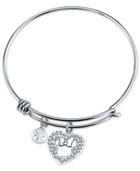 Disney Minnie Crystal Charm Bracelet In Stainless Steel
