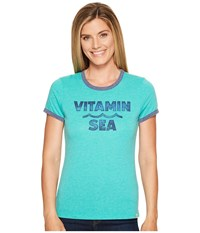 Life Is Good Vitamin Sea Sweet Ringer Tee Bright Teal Women's T Shirt Blue