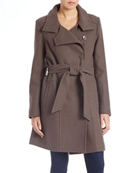 Kenneth Cole Reaction Belted Wool Blend Trench Coat Coffee