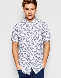 Brave Soul Short Sleeve Shirt In Feather Print White