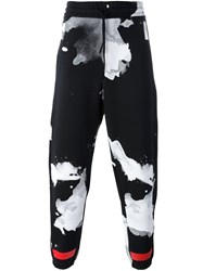 Off White Drawstring Abstract Print Trousers Black