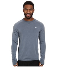 Nike Dri Fit Sprint Crew Blue Graphite Blue Graphite Reflective Silver Men's Long Sleeve Pullover Gray