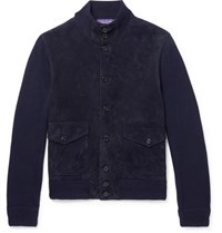 Ralph Lauren Purple Label Suede Panelled Cashmere Cardigan Navy