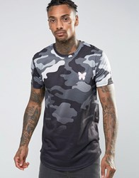 Good For Nothing T Shirt In Camo With Dip Dye Grey