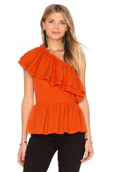 Endless Rose One Shoulder Ruffle Top Orange
