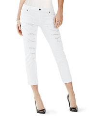 Guess Destroyed Slim Cropped Jeans White