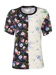 Sportmax Code Jersey Tee In Floral Print And Contrast Colour Black
