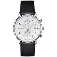 Junghans 041 4771.00 'S Form Chronograph Date Leather Strap Watch Black White