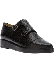 Toga Pulla Crocodile Effect Monk Shoe Black