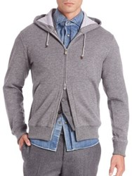 Brunello Cucinelli Cashmere Blend Full Zip Spa Hoodie Grey
