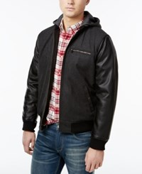 Levi's Faux Leather Sleeve Hooded Bomber Jacket